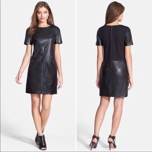 Halogen Black Leather Ponte Shift Dress Medium New